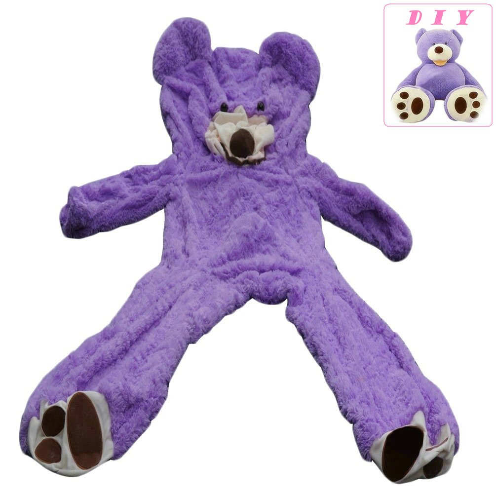Life Size Huge Plush Teddy Bear Unstuffed Soft Giant Animal Toy (79 inch/ 6.6 foot), DIY Purple Bear for Valentine's Day Birthday Gifts, Only Cover, Sealing with the Zipper at Shell's Back by Livingly Light
