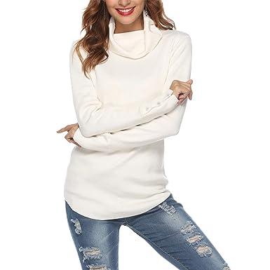 SIRUITON Damen Strickpullover Sweater Rollkragen Pullover Elegant Jumper Strick Pulli Weiß