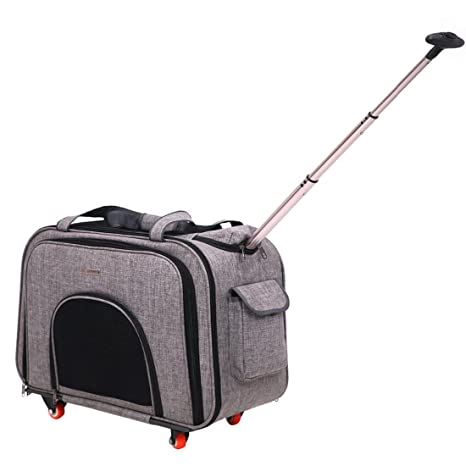 Transportin Carrito Perro,Pet Carriers trolley Mochila Plegables extensibles trolley perros , Gray