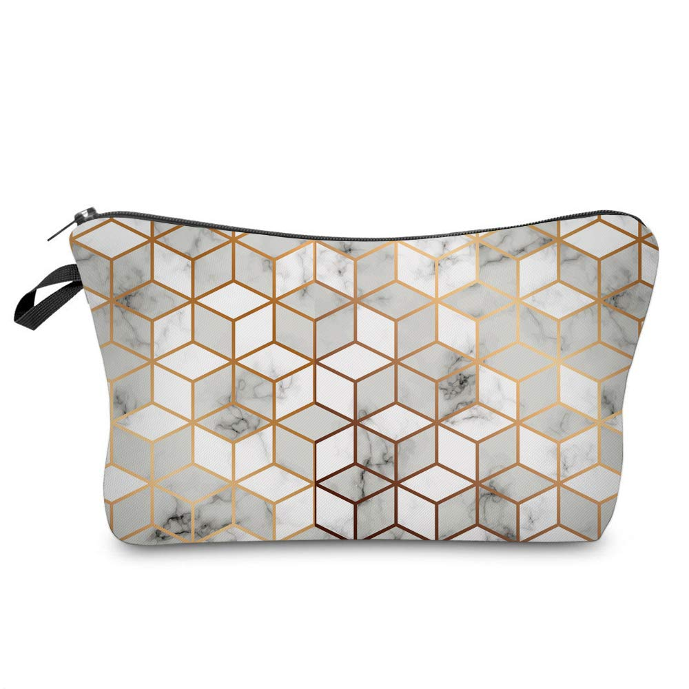 Cosmetic Bag for Women,Loomiloo Adorable Roomy Makeup Bags Travel Waterproof Toiletry Bag Accessories Organizer Cute Gifts (marble 52251)