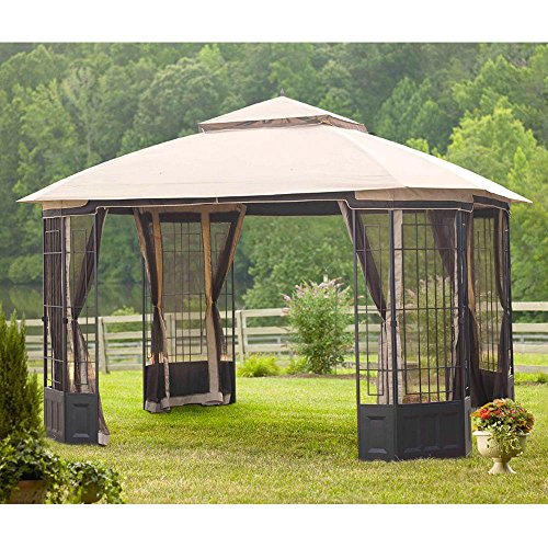 Hampton Bay 12 ft. x 10 ft. Bethany Gazebo with Removable Mosquito Netting