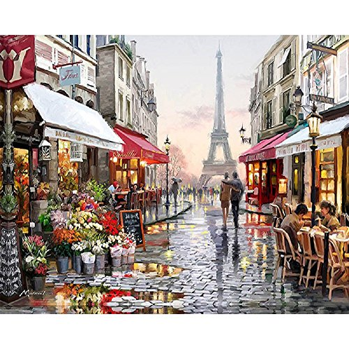 DIY Oil Painting Paint by Number Kit with Scenery Peaple 16x20inch (Frameless, Eiffel Tower Street (Street Oil Painting)
