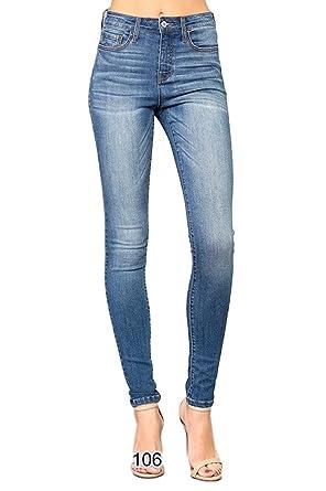 bc544af5021b Vervet by Flying Monkey Jeans Terroni High Waist Super Stretch Medium Wash  Skinny Jeans VT106 (