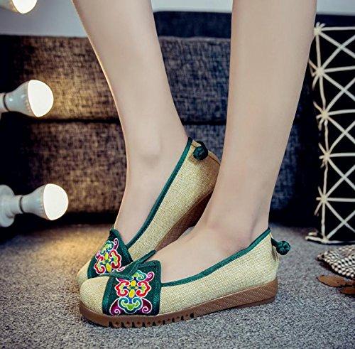 Estilo Casual Femenina Zq Lenguado Moda Bordados Étnico Dentro Cómodo Del Tendón De Zapatos Green Aumento Tela SqA7RqHX