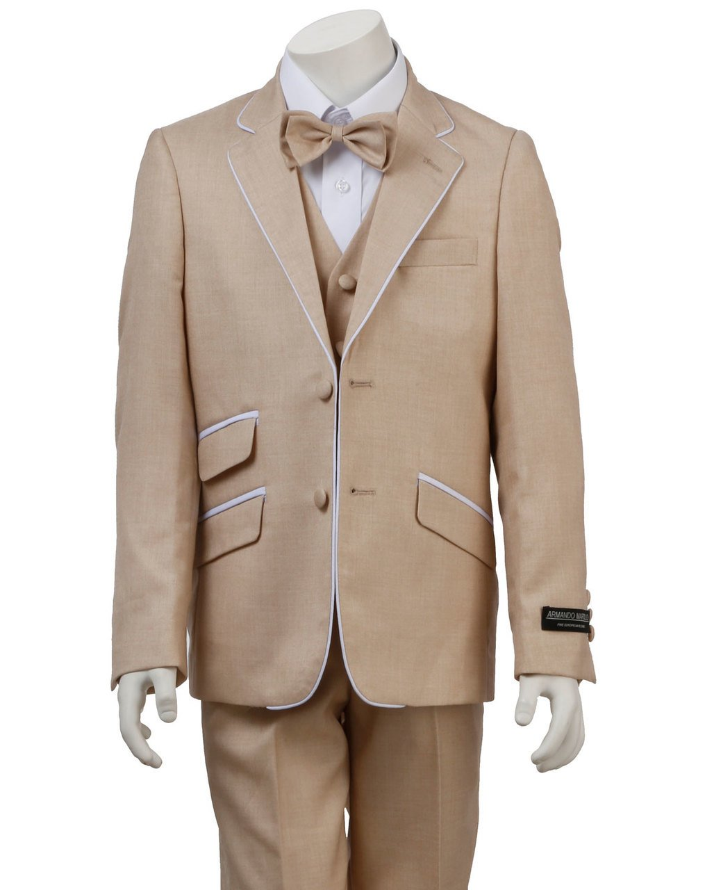Armando Martillo Boys' Beige Tan Khaki 4 Piece Formal Dress Suit With White Piping Detail Slim Fit For Ring Bearer Summer 2017 Weddings Proms Communions Graduations Holiday & special Occasions 7