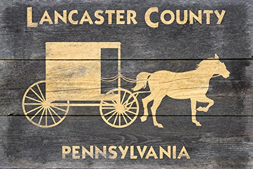 (Lancaster, Pennsylvania - Horse and Buggy - Rustic (24x36 SIGNED Print Master Giclee Print w/Certificate of Authenticity - Wall Decor Travel Poster))