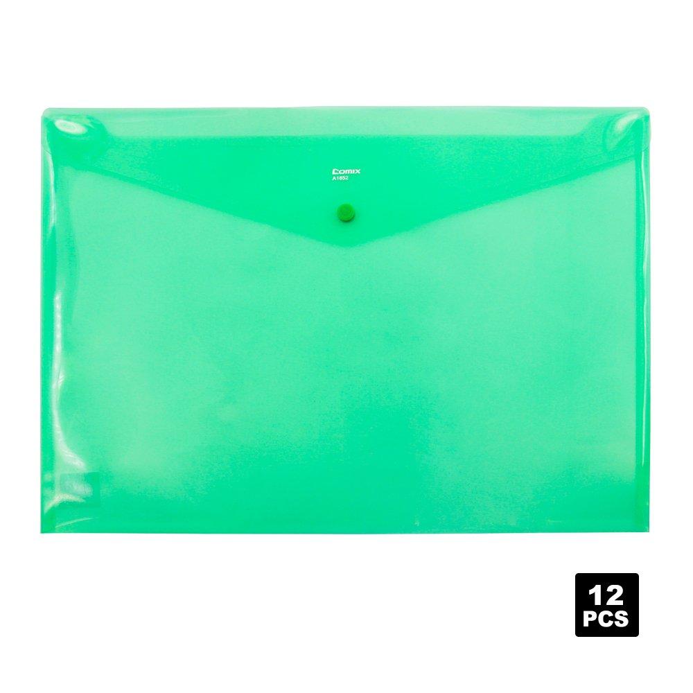 Comix Button Bags,Office Supply Button Bags,A3 Size,12pcs/set(A1852) (Green)