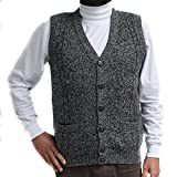 CELITAS DESIGN Alpaca Vest Golf Sweater Jersey BRIAD V Neck Buttons and Pockets Made in Peru Heather Grey XXXL