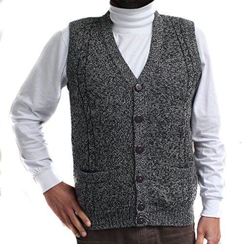 (CELITAS DESIGN Alpaca Vest Golf Sweater Jersey BRIAD V Neck Buttons and Pockets Made in Peru Heather Grey S)