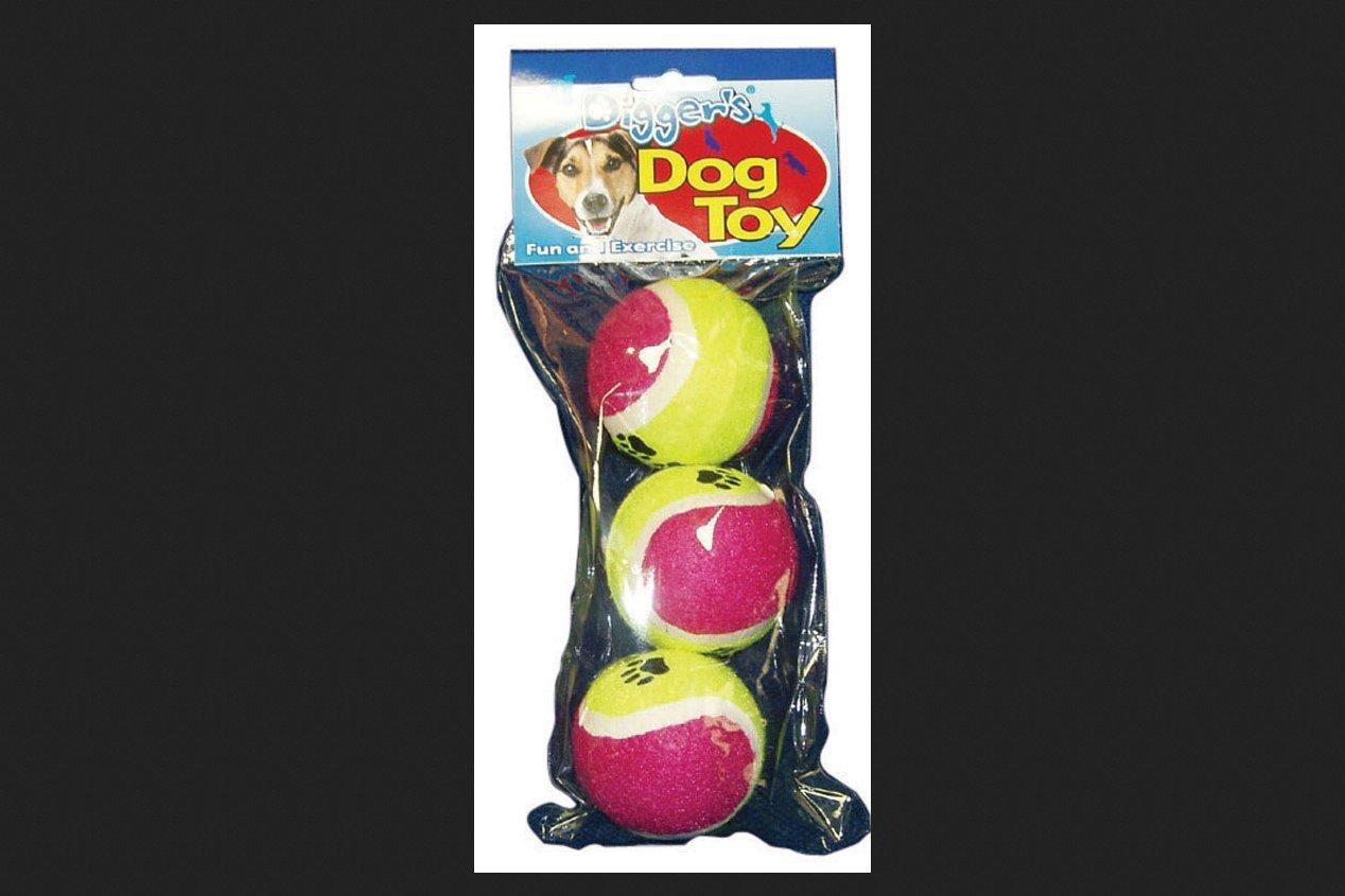 Digger'S Pet Tennis Balls 3   Pack Pink-Purple-Yellow