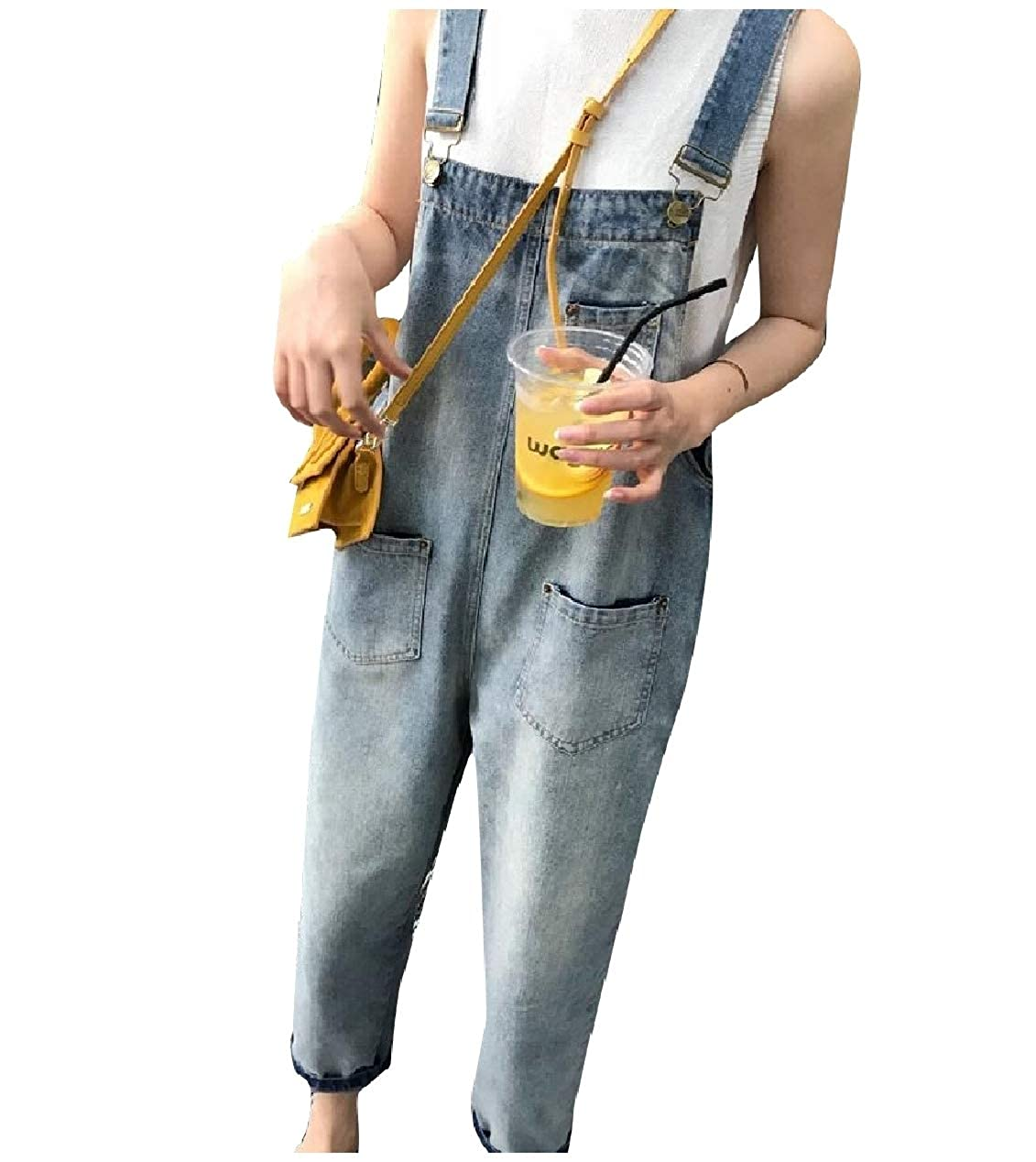 Whitive Womens Washed Spring//Fall Overalls Casual Bib Pants Playsuit