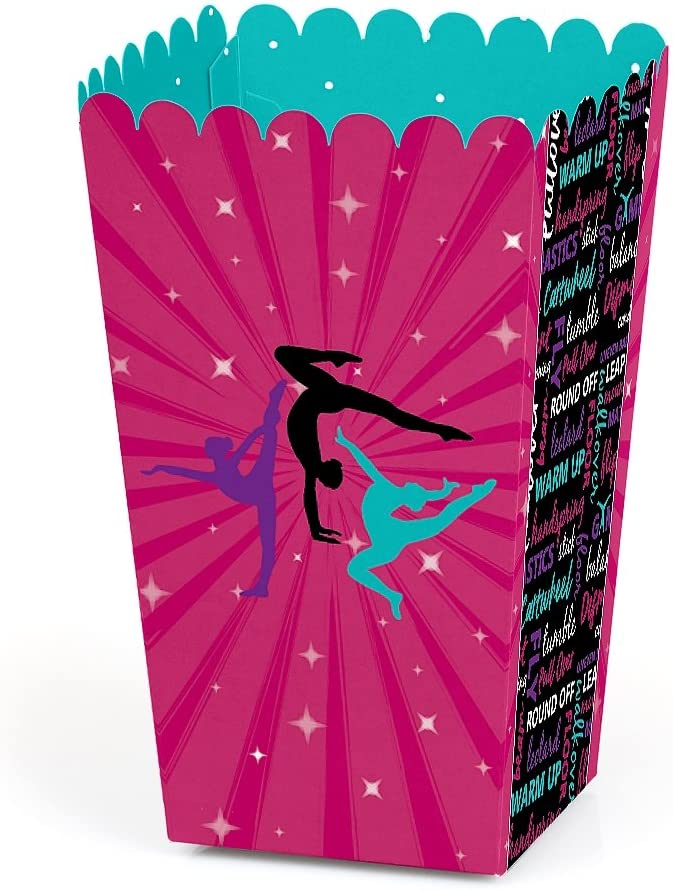 Tumble, Flip & Twirl - Gymnastics - Birthday Party or Gymnast Party Favor Popcorn Treat Boxes - Set of 12
