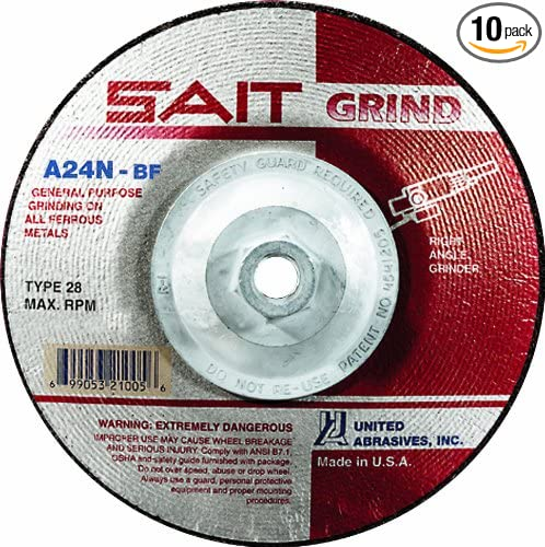 United Abrasives-SAIT 21025 4-1//2 by 1//4 by 5//8-11 A24N Type 28 Grinding Wheel 10-Pack
