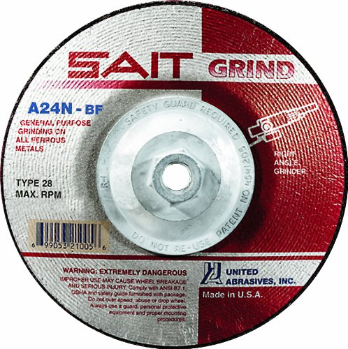 United Abrasives-SAIT 21020 4-1/2 by 1/4 by 7/8 A24N Type 28 Grinding Wheel, 25-Pack