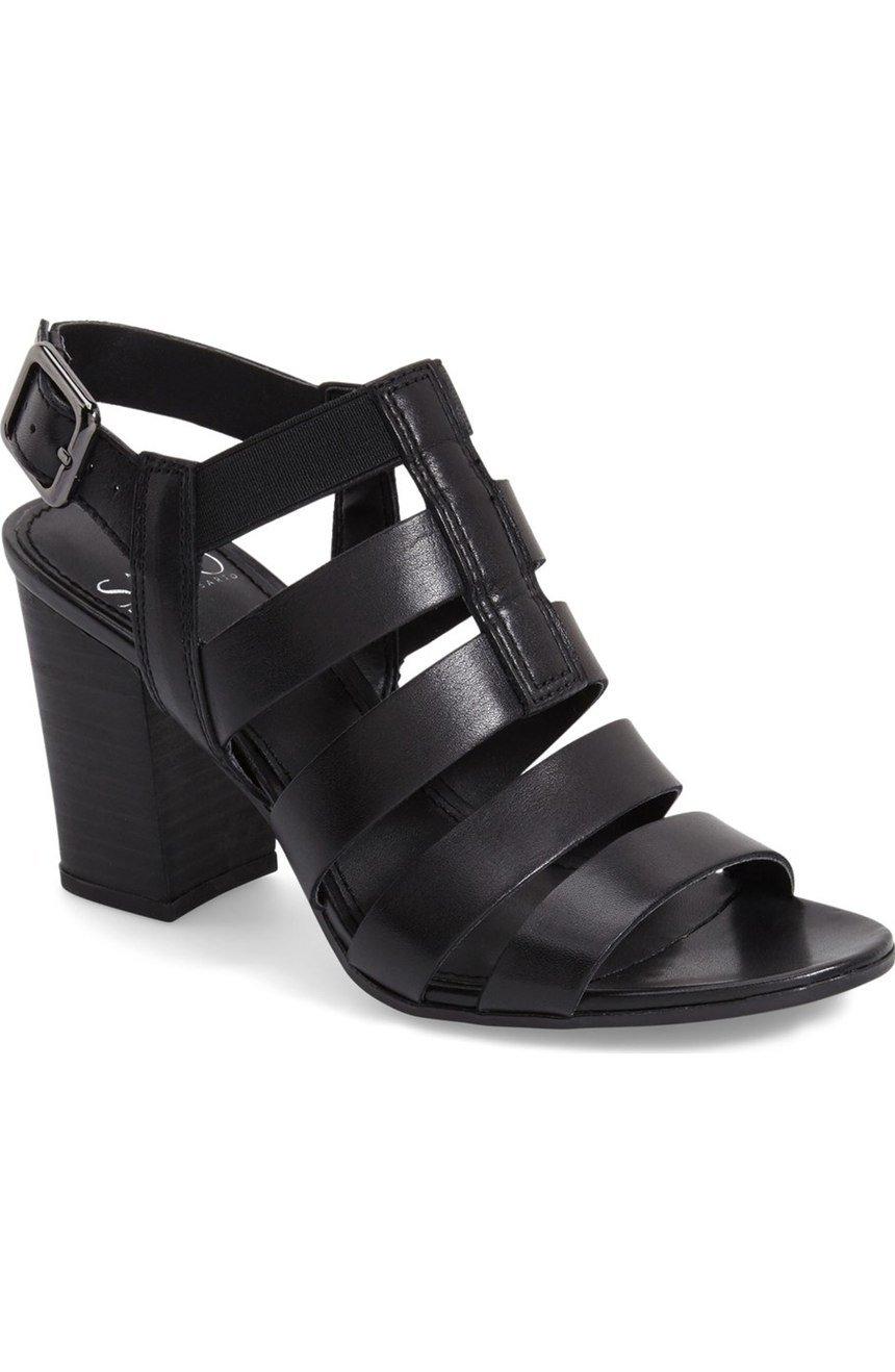 Franco Sarto Women's MONTAGE Dress Sandal BLACK LEATHER,6.5
