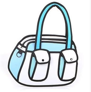 Amazon Com Genius Baby Canvas Cartoon Shoulder Messenger Bag 2d Drawing 3d Handbag Blue Clothing