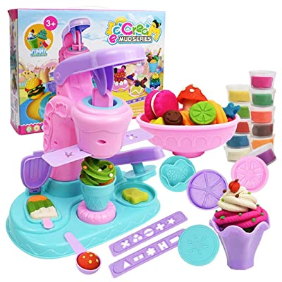 Sunywear Kids Ice Cream Maker DIY Puzzle Color Clay Set Children Puzzle Toys Kitchen Playsets: Home & Kitchen