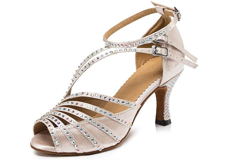 Frauen Kristalle Sparking Satin Latin Salsa Tanzschuhe Tango Chacha Samba Modern Jazz Schuhe Sandalen High Heels schwarzheeled6cm-UK4.5   EU36   Our37