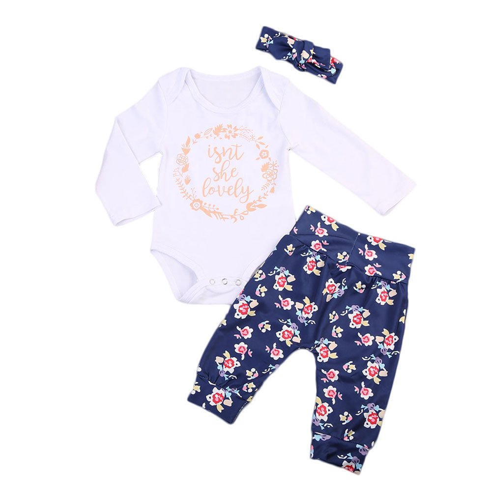 Baby Girls Long Sleeve Isn't She Lovely Romper Floral Pants with Headband Outfits Set 3Pcs (0-6 Months, White+Navy Blue)