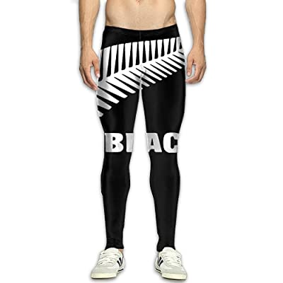 All Blacks Feather Logo Men's Compression Thigh Butt Lift Workout Pants Yoga Legging Tights