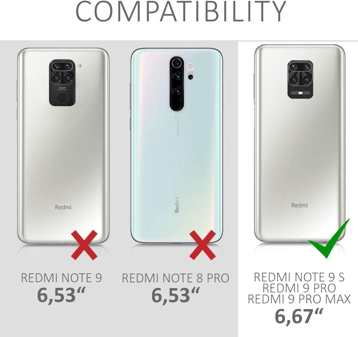 9 Pro Max kwmobile Coque Compatible avec Xiaomi Redmi Note 9S /Étui de Protection en Silicone Patchwork de Triangles Rose Clair-Or Rose-Blanc 9 Pro