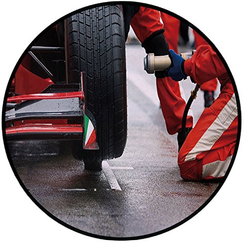 Printing Round Rug,Man Cave Decor,Professional Racing Team at Work Pit Stop Racecar Fast Tyre Changing Image Mat Non-Slip Soft Entrance Mat Door Floor Rug Area Rug for Chair Living Room,Multicolor