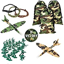 Military Camouflage Party Favor Pack for 12 guests (Drawstring bags, Camouflage Foam Glider Planes, Rope Bracelets, Green Toy Soldiers)
