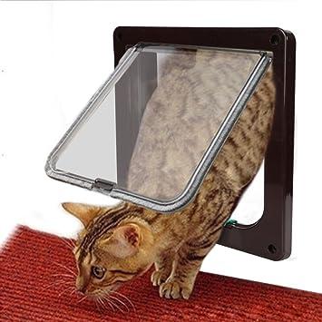 Puerta Gato del Perro, Goodid puerta automática para gatos y perros 4 Modo Pet Door (M, Marrón): Amazon.es: Hogar
