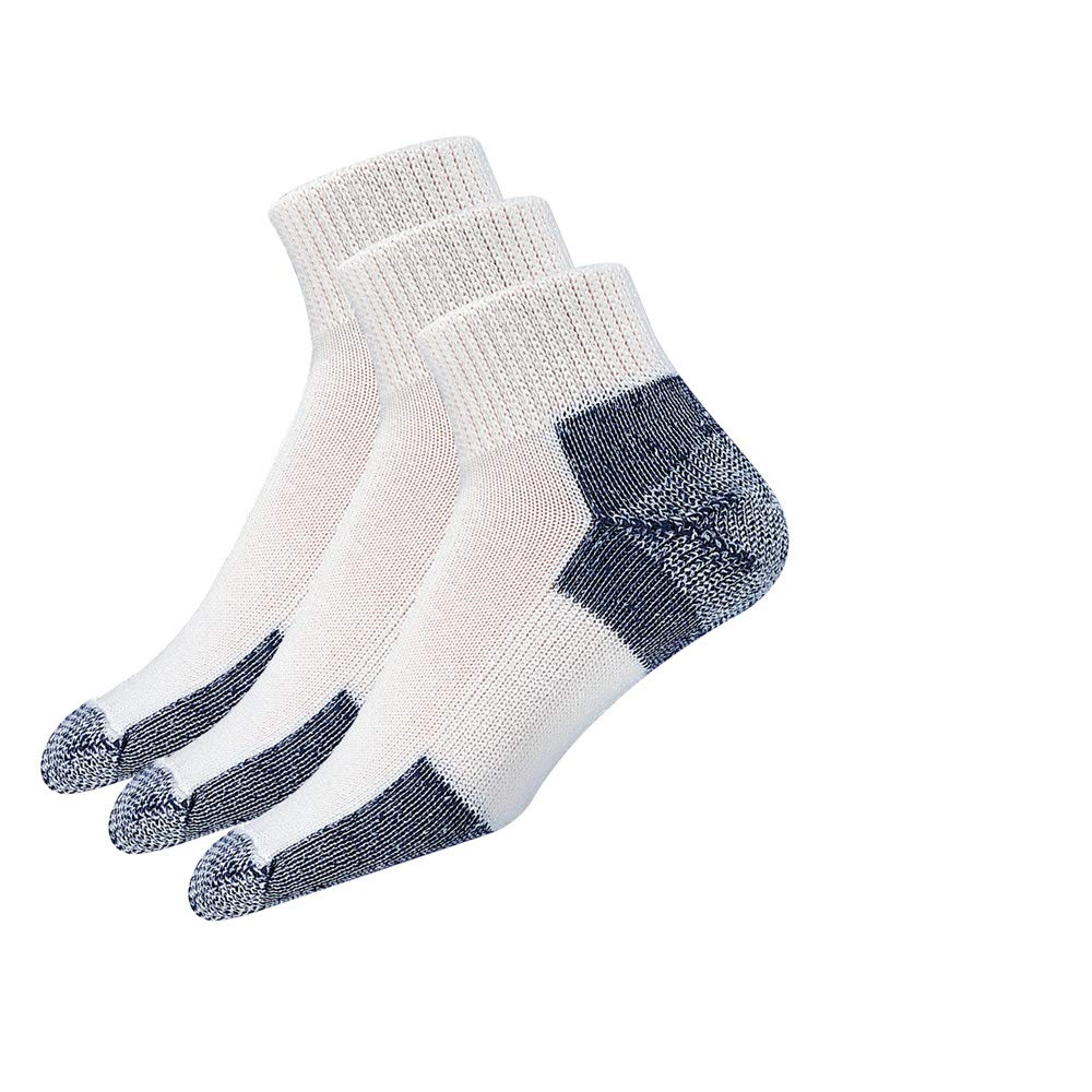 Thorlos Unisex JMX Running Thick Padded Ankle Sock, White (3 Pack), Large by thorlos