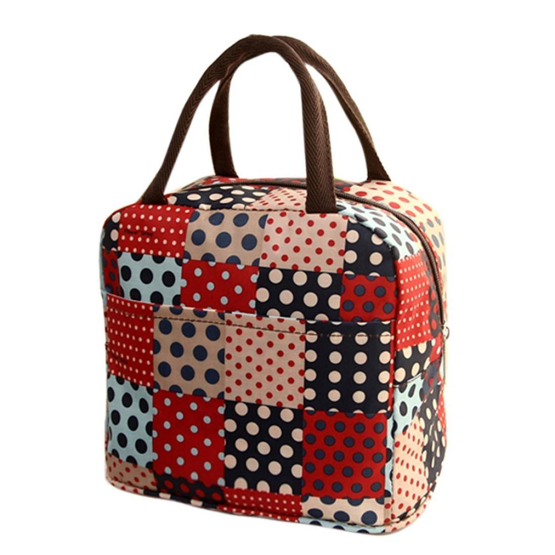 Sac à déjeuner Honestyi isolation thermique sac déjeuner pique-nique sac glacière garde au frais sac à main poche–chiffon de nettoyage en nylon–32 x 22 x 10cm 32*22*10cm Red