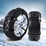 Hltd Snow Chains,Universal Anti-Skid Tire Chains Wheel for Cars, Vehicle, SUV,with Gloves and Installation Tools,Set of 6 (Black)