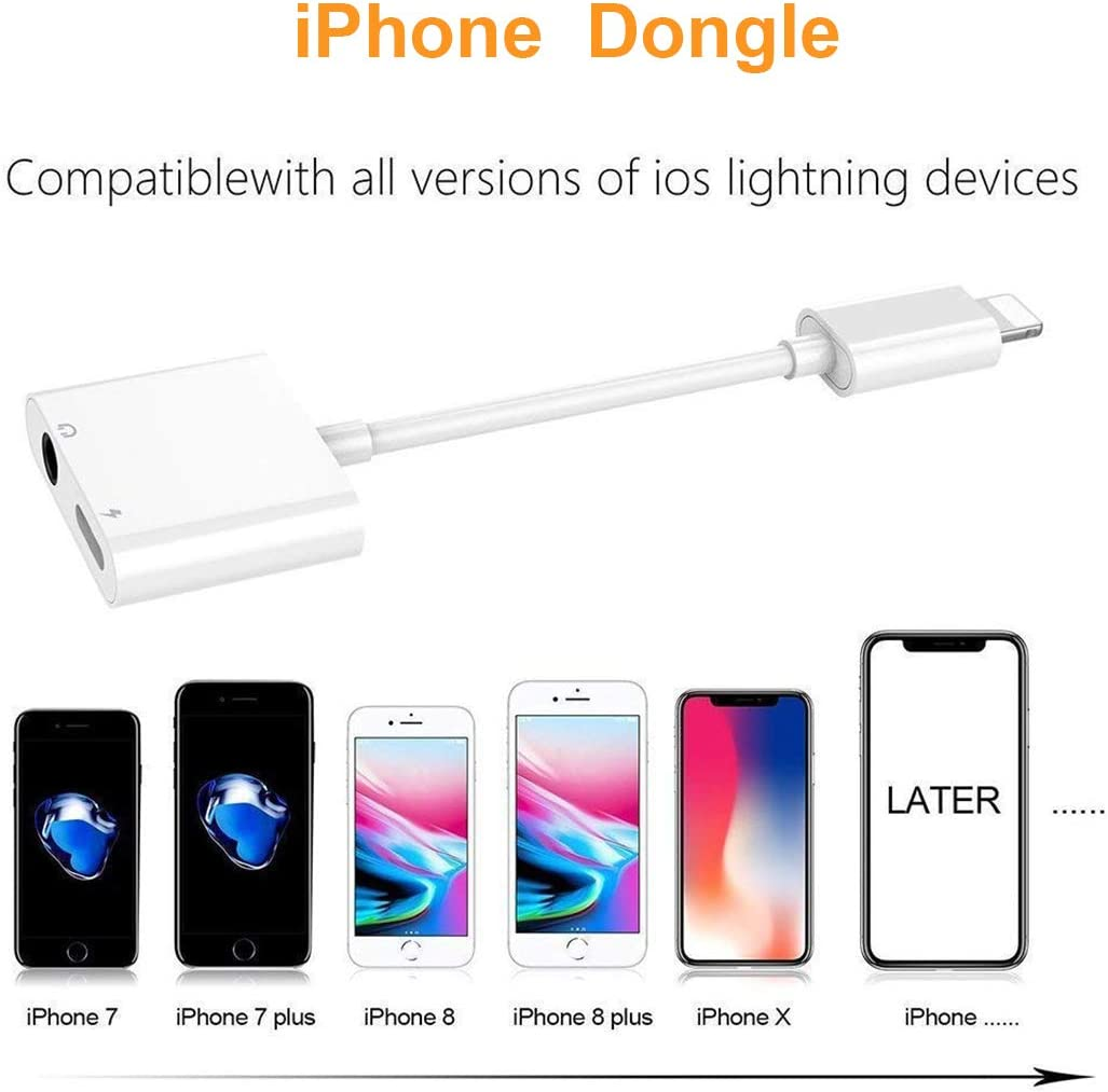 White Headphones Adapter for iPhone 7 Adapter to 3.5mm Splitter Jack AUX Audio Adapter for iPhone 11//X//XS Max//S8//8Plus//7//7Plus Music /& Charge Dongle Headset Convertor Accessories Support All iOS
