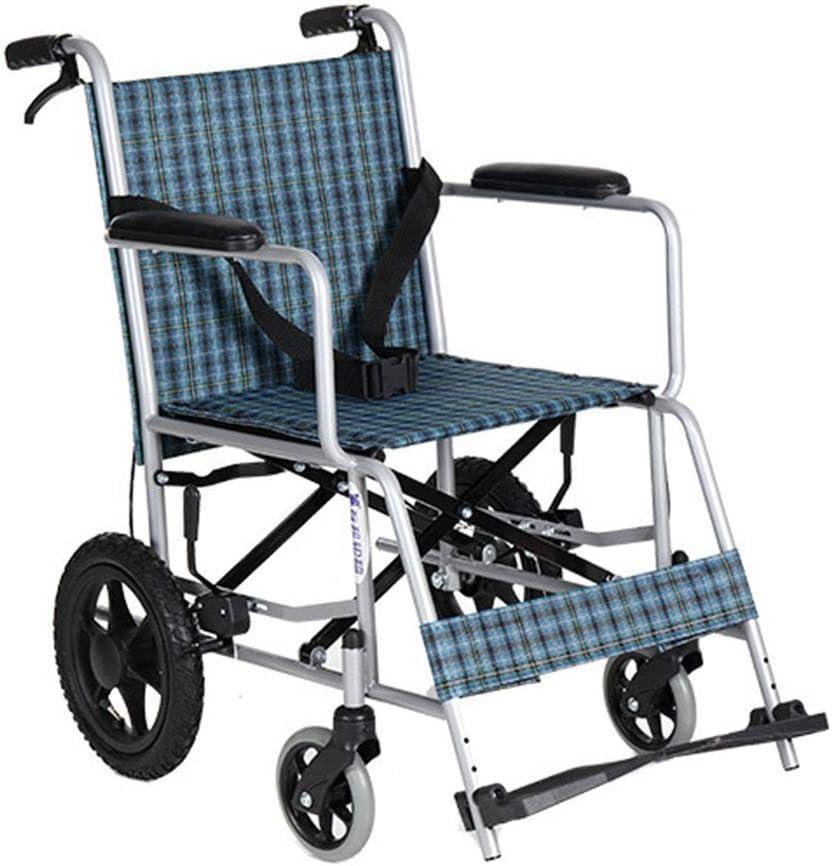 MJY Silla de ruedas plegable ligera, conducción médica, silla de ruedas manual de acero antiguo, silla de ruedas compacta y ligera hg