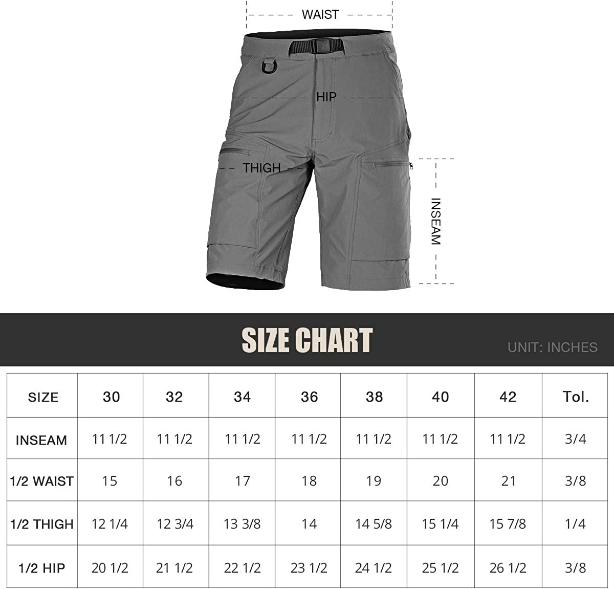 FREE SOLDIER Mens Lightweight Breathable Quick Dry Tactical Shorts Hiking Cargo Shorts Nylon Spandex