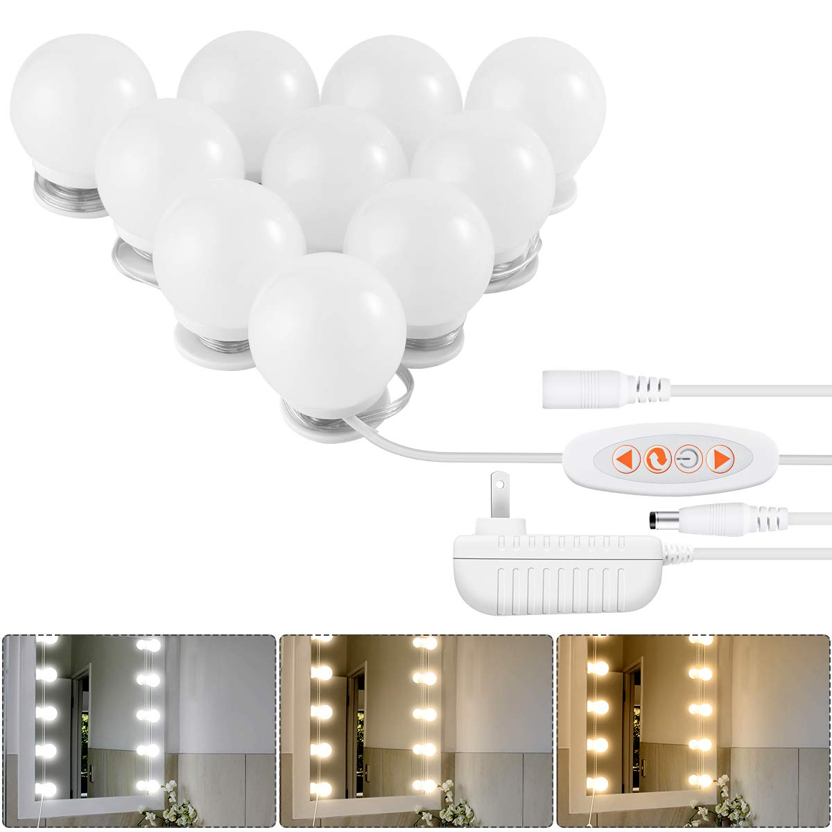 LED Vanity Mirror Lights Kit, Upgraded Hollywood Style Vanity Lights Makeup Lighting Fixture with 3 Color Lighting Modes, 10 Dimmable Light Bulbs and Smart Dimmer for Vanity Table Set in Dressing Room
