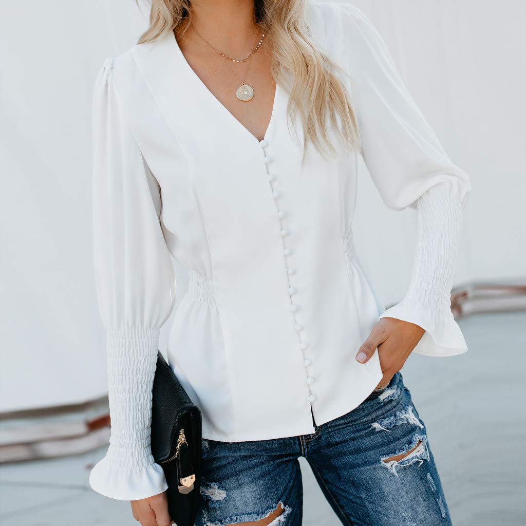 Women Vintage White Shirts Casual Solid Long Sleeve Button V Neck Blouse Fashion Elastic Waist Tops(white,XL) by iQKA (Image #2)