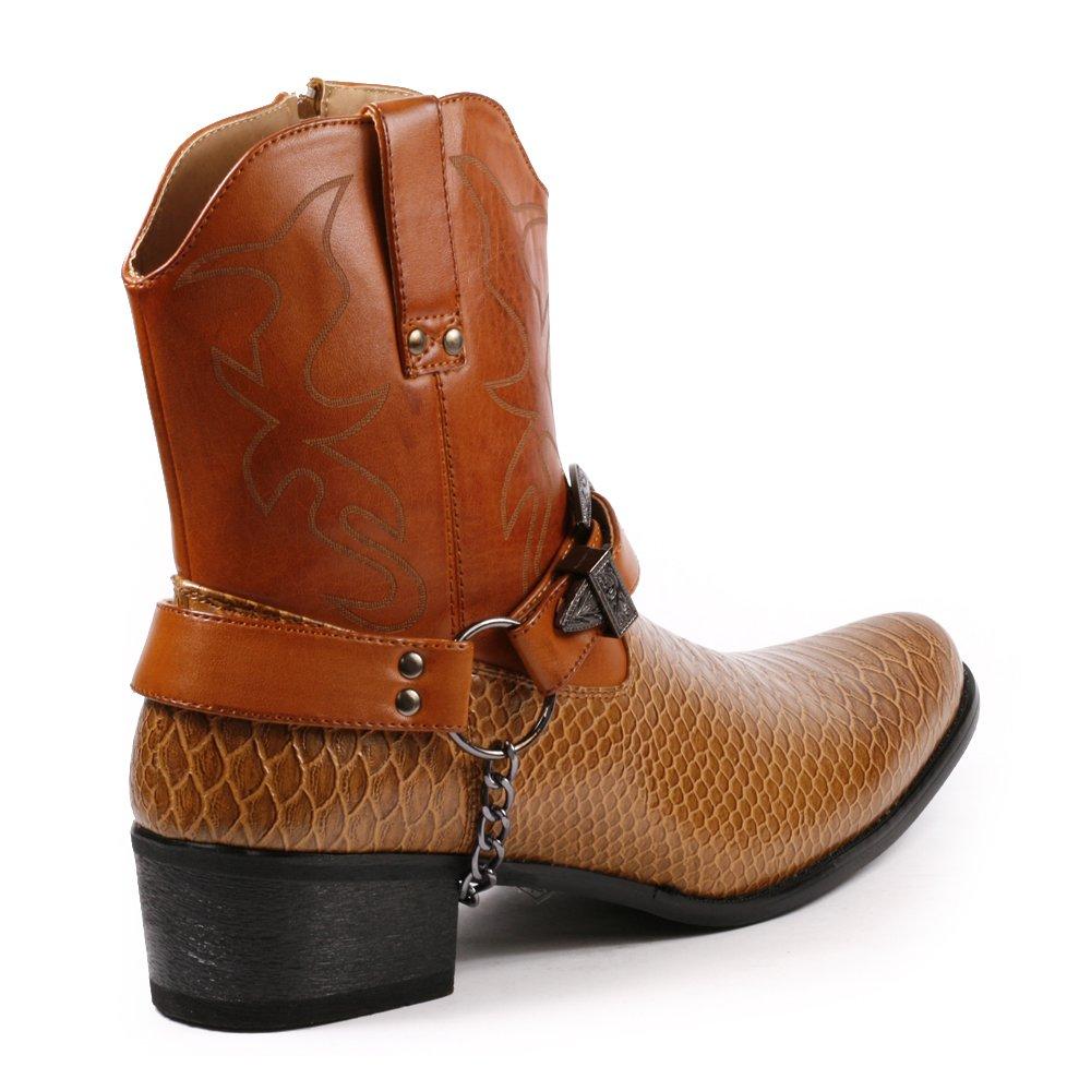 4d524a65e6 Metrocharm Diego-01 Cinturón de cadena con hebilla para hombre Western  Cowboy Boots marrón