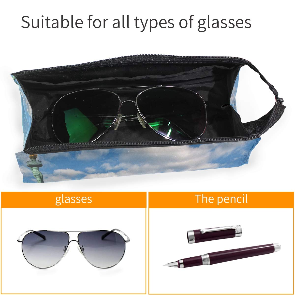 Glasses Case Lady Liberty Statue Zipper Soft Sunglasses Ball Pen Bag Protective Box