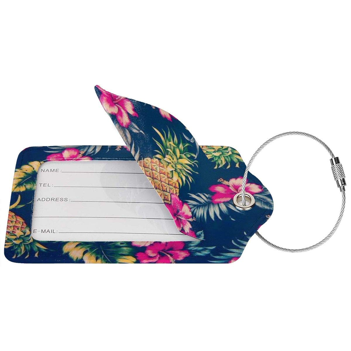 Key Tags for Travel Suitcase Handbags Gift Leather Luggage Tags Full Privacy Cover and Stainless Steel Loop 1 2 4 Pcs Set Hawaiian Flower Party 2.7 x 4.6 Blank Tag