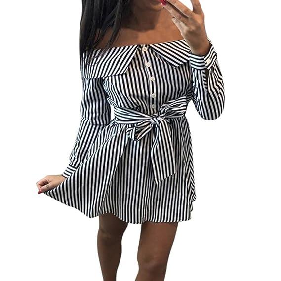 Kleid Damen Kolylong® Frauen Elegant Trägerloses Gestreift Kleid Langarm  Festlich Schulterfrei Kleid Kurz T- cf25c40957
