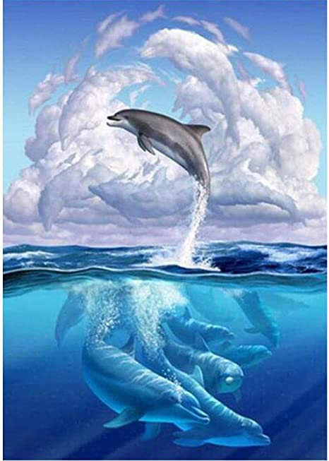 Amazon.com: Jeeke DIY 5D Diamond Painting,Jumping Dolphin