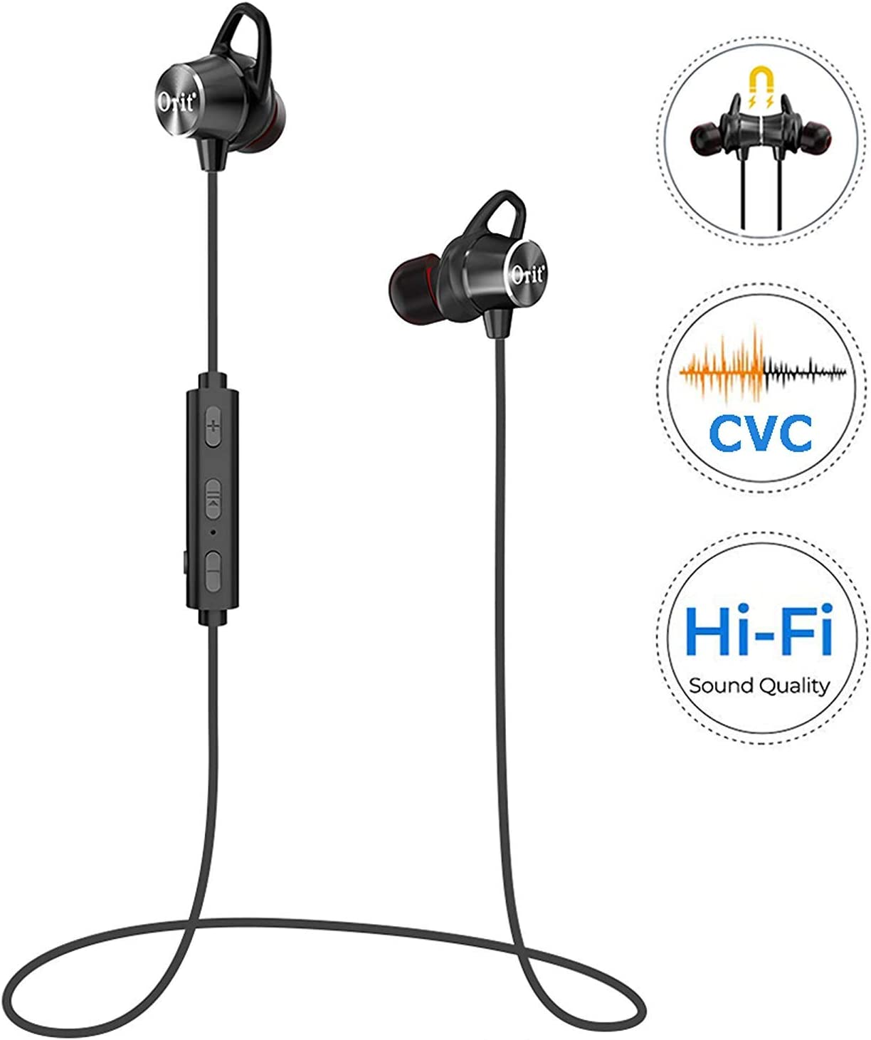 Wireless Headphones Sport, Bluetooth Earbuds with Mic Sweatproof Super Bass and Noise Cancelling Magnetic Earphones with Removable Ear Hook Cancellation for Cell Phones Workout Running 9H Playtime