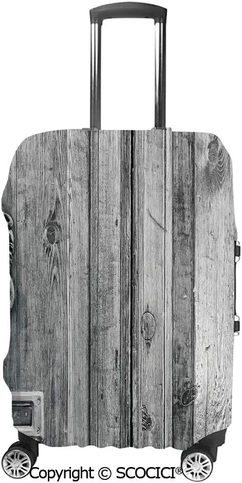 SCOCICI Black and White Photography of Tuscany House Doorway Florence with Lion Handlers Suitcase Cover Protective Luggage Cover Customized Fits 19-32 Inch
