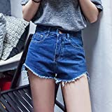 YFF High waist denim shorts Big code slim casual tassels pants,L,Blue