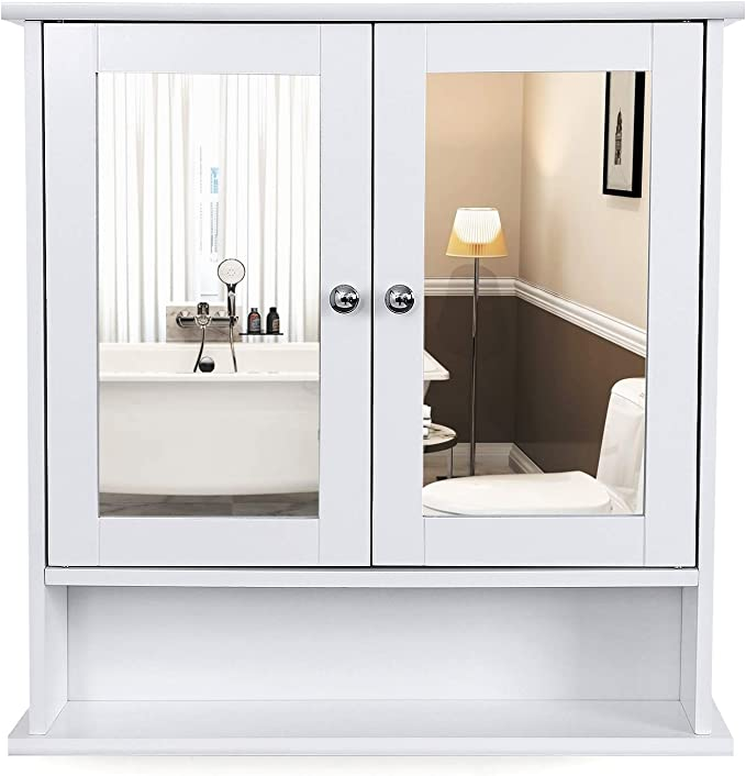 VASAGLE Armario de baño de Puerta con Doble Espejo, Armario de Pared, Armario de Almacenamiento, Armario de Pared, Estantes de Altura Regulable, 56 x 13 x 58 cm, Blanco LHC002: Amazon.es: Hogar