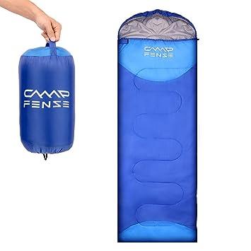 CampFENSE Sacos de Dormir (180 ×75 cm,Temperatura: 30-60 ℉) Ultraligero, Duradero y cómodo, Incluye Bolsa de compresión (Azul): Amazon.es: Deportes y aire ...