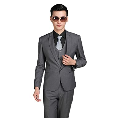 Wedding Party Business Formal Men Suits Standard Euro-Size Dark Grey ...