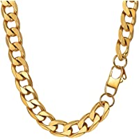 PROSTEEL 5/6/9/13MM Mens Curb Chain Necklace,18/20/22/24/26/28/30 inch, 18K Gold Plated/316L Stainless Steel/Black Color (with Gift Box)