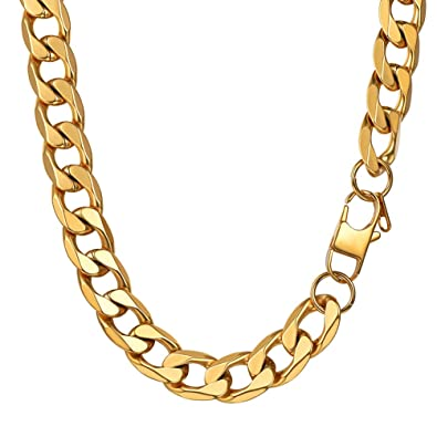 940f697d056 PROSTEEL Mens Curb Chain Necklace, 13mm-18k Gold Plated, Length: 55  Centimeters