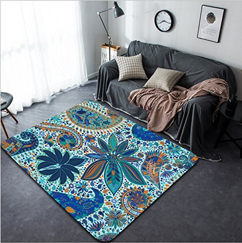 Vanfan Design Home Decorative 296442977 Vintage floral motif ethnic seamless background Abstract lace pattern Hand drawing colorful wallpaper Modern Non-Slip Doormats Carpet for Living Dining Room